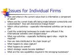 issues for individual firms