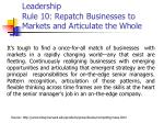 leadership rule 10 repatch businesses to markets and articulate the whole