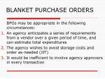 blanket purchase orders
