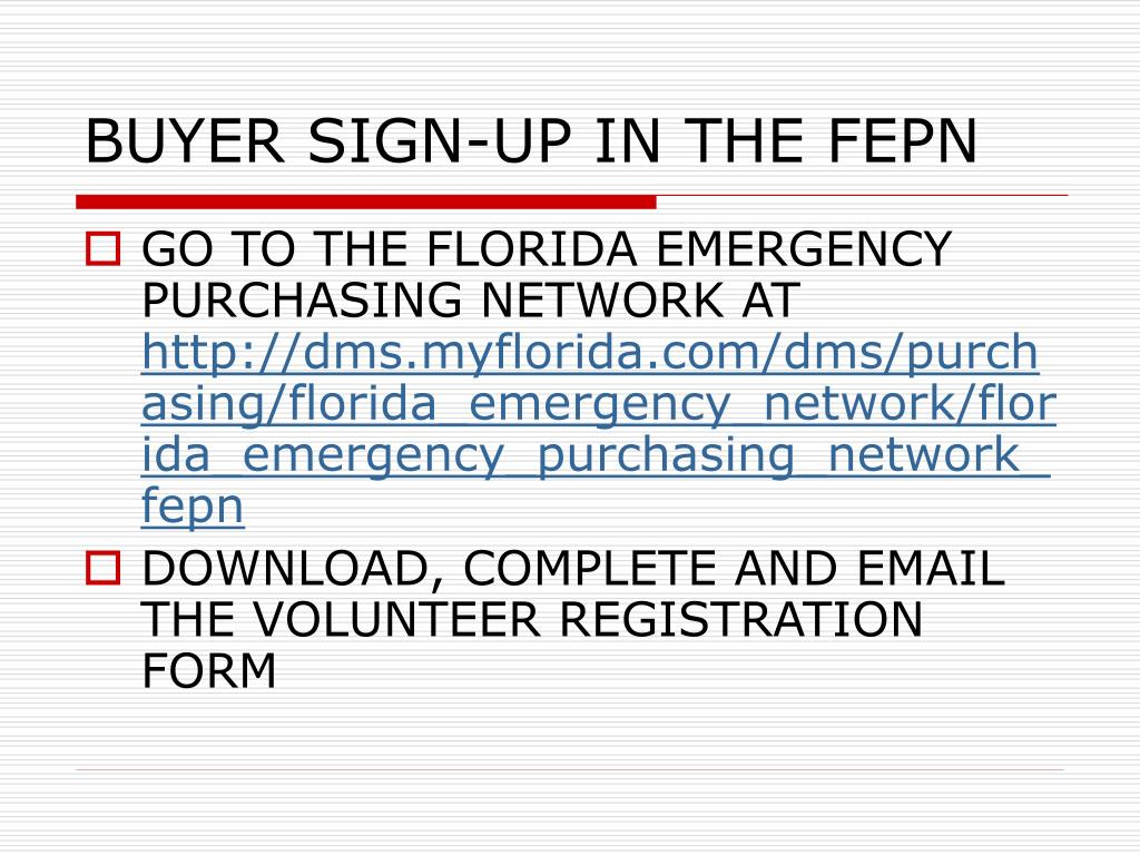 BUYER SIGN-UP IN THE FEPN