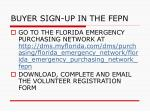 buyer sign up in the fepn