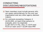 conducting discussions negotiations76