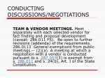 conducting discussions negotiations79