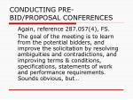 conducting pre bid proposal conferences