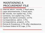 maintaining a procurement file137