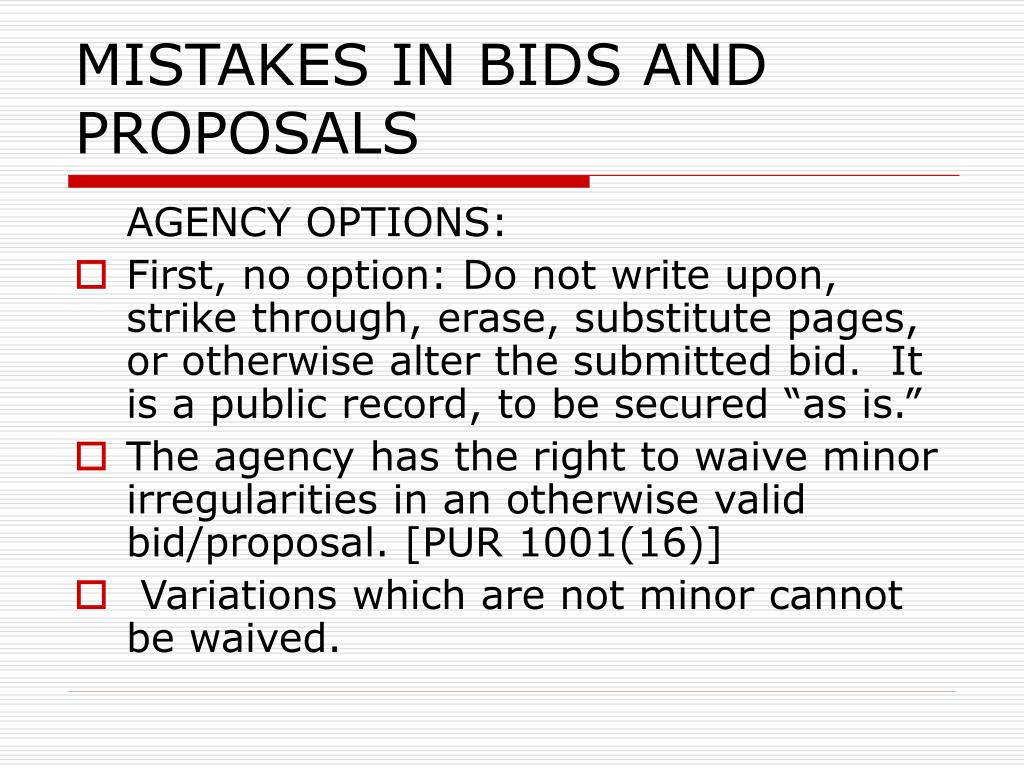 MISTAKES IN BIDS AND PROPOSALS