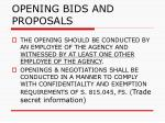 opening bids and proposals63