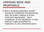 opening bids and proposals64