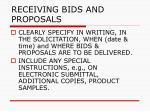 receiving bids and proposals