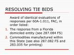 resolving tie bids