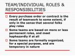 team individual roles responsibilities
