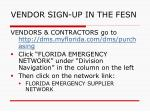 vendor sign up in the fesn
