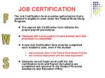 job certification