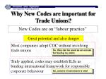 why new codes are important for trade unions