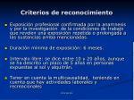 criterios de reconocimiento