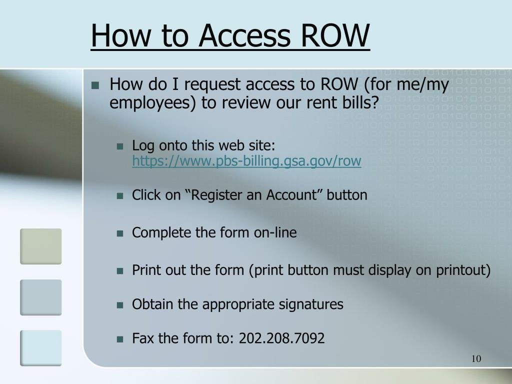 How to Access ROW