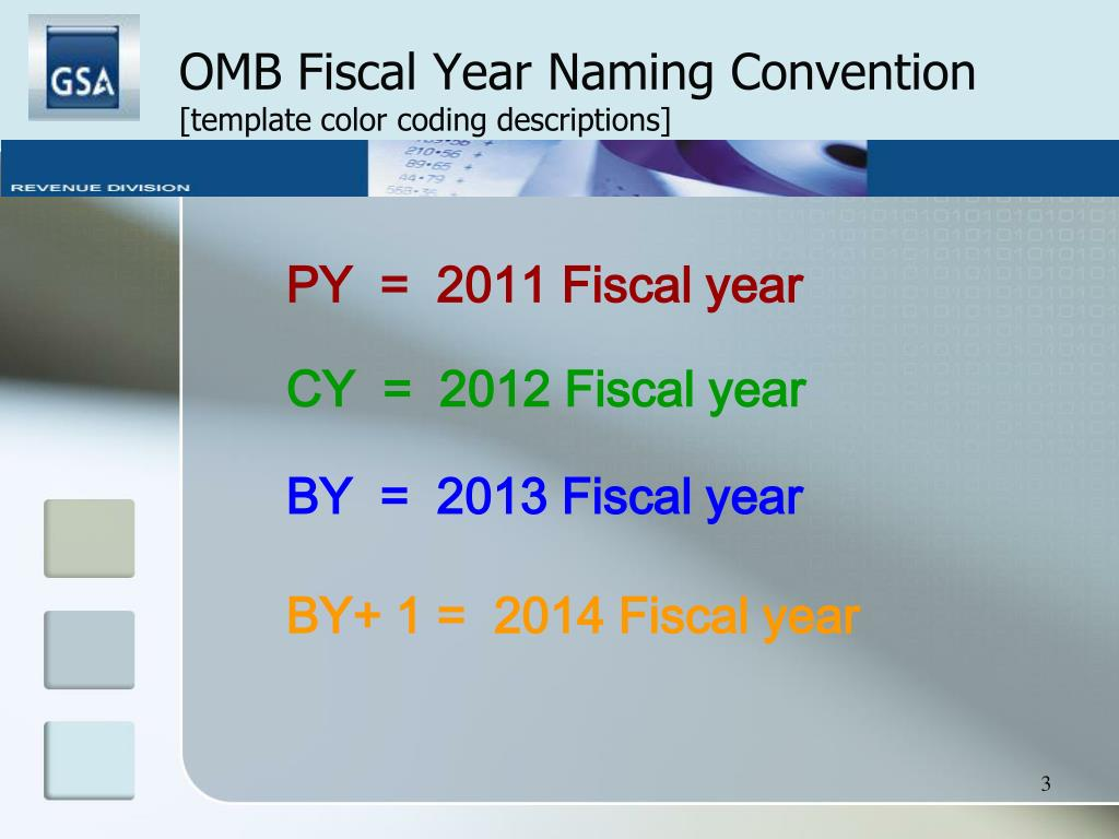 OMB Fiscal Year Naming Convention