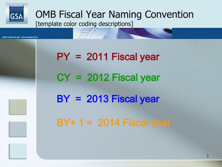 Omb fiscal year naming convention template color coding descriptions