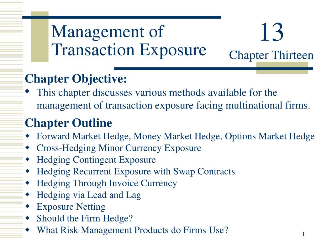 management of transaction exposure l.