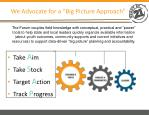 we advocate for a big picture approach