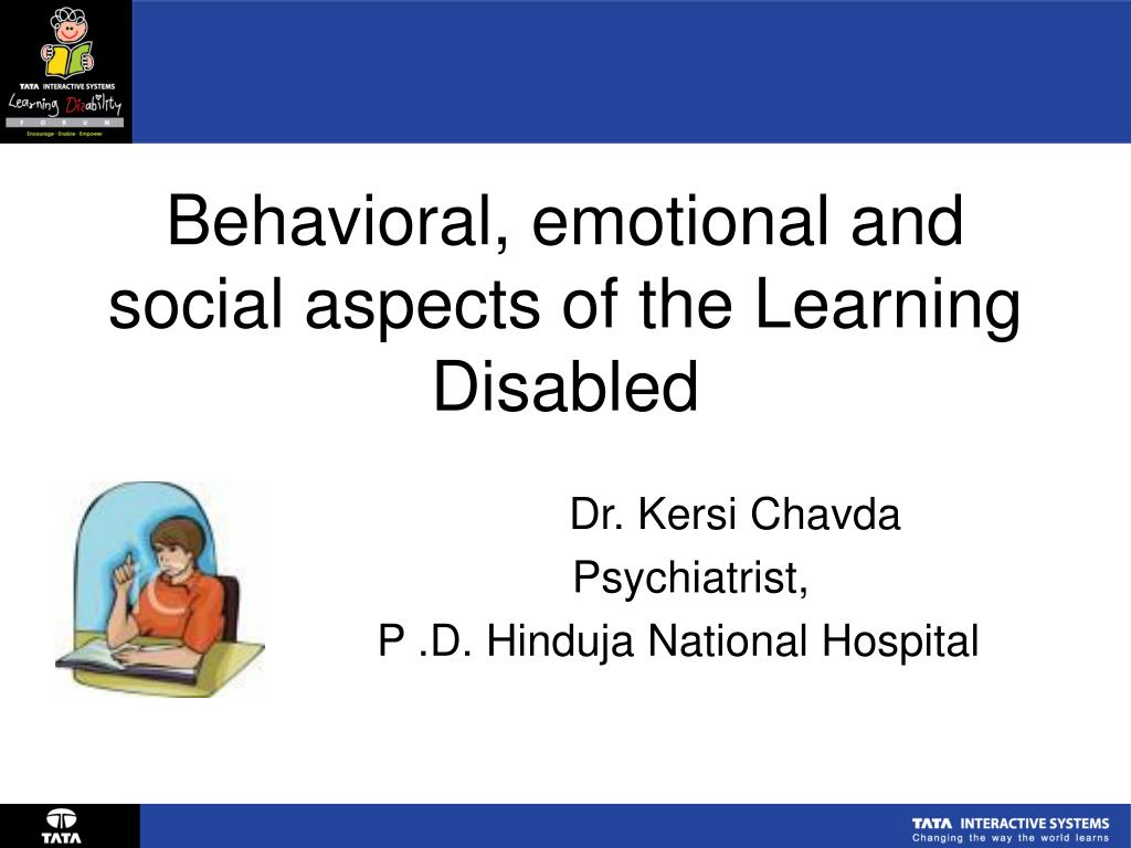 behavioral emotional and social aspects of the learning disabled l.