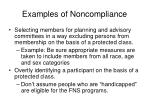 examples of noncompliance17