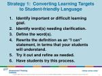 strategy 1 converting learning targets to student friendly language