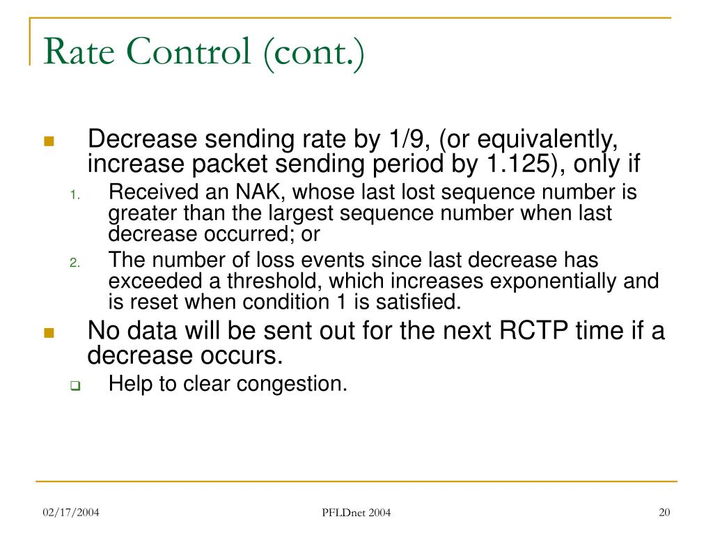 Rate Control (cont.)