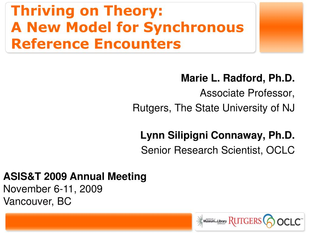 thriving on theory a new model for synchronous reference encounters l.