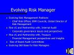evolving risk manager