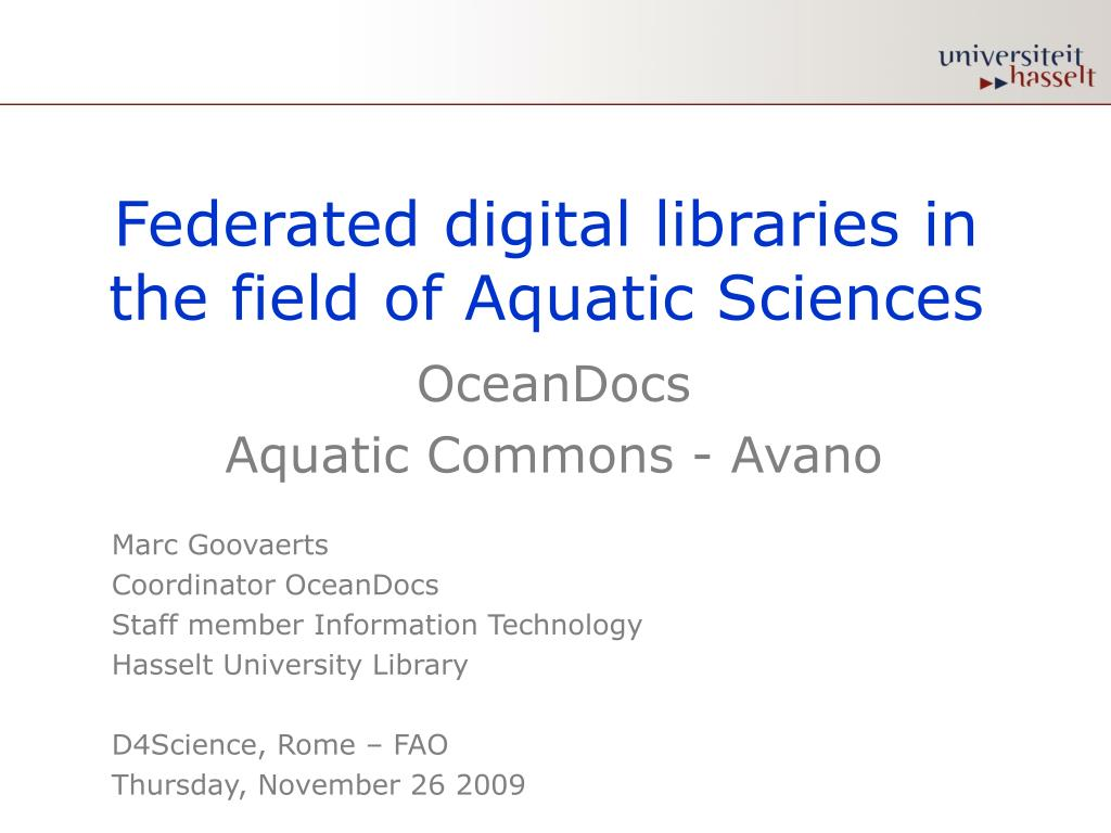 federated digital libraries in the field of aquatic sciences l.