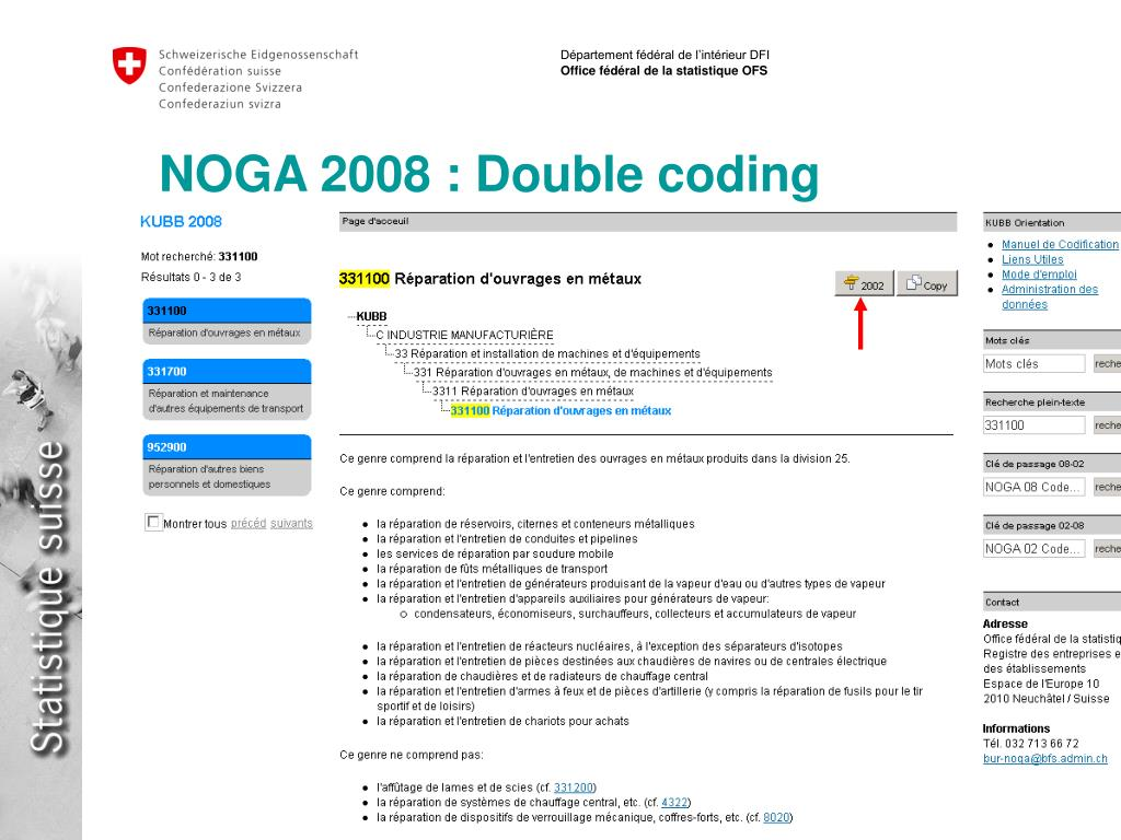 NOGA 2008 : Double coding