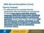 aba recommendation cont