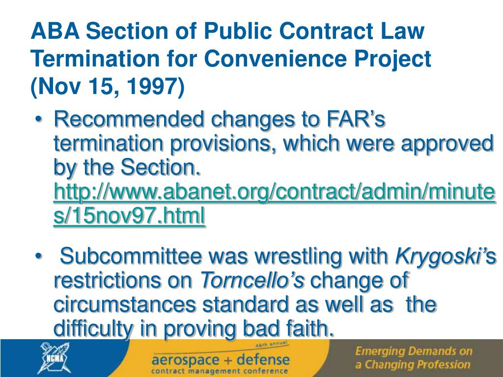 ABA Section of Public Contract Law Termination for Convenience Project  (Nov 15, 1997)