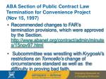 aba section of public contract law termination for convenience project nov 15 1997