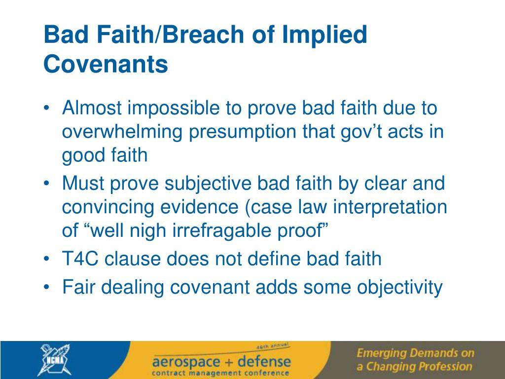 Bad Faith/Breach of Implied Covenants