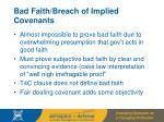 bad faith breach of implied covenants