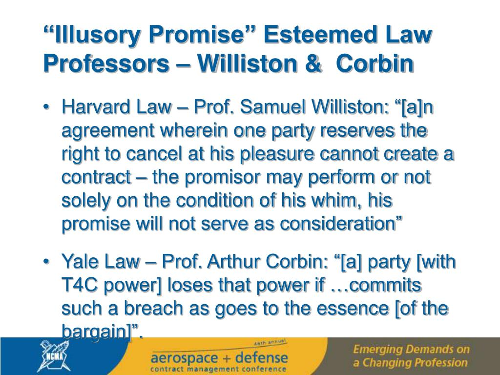 """Illusory Promise"" Esteemed Law Professors – Williston &  Corbin"