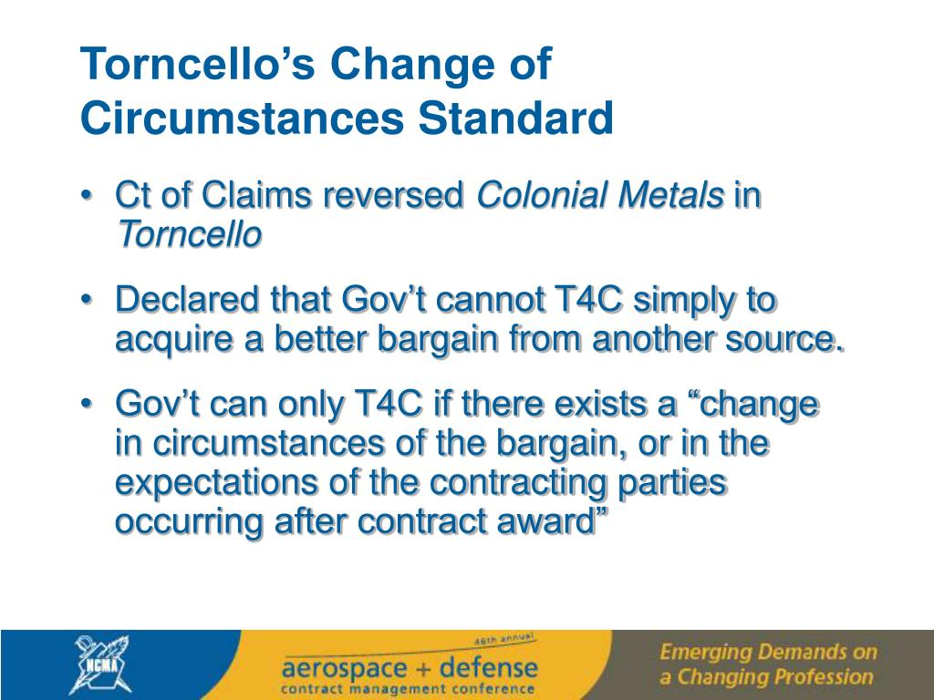 Torncello's Change of Circumstances Standard