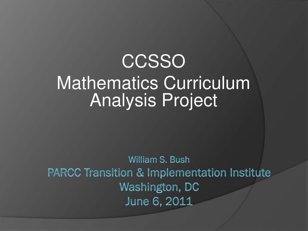 ccsso mathematics curriculum analysis project l.