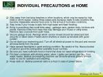 individual precautions at home