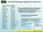 usf health emergency response contact list