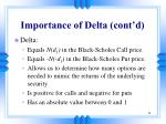 importance of delta cont d11