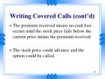 writing covered calls cont d