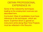 obtain professional experience in