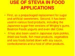 use of stevia in food applications