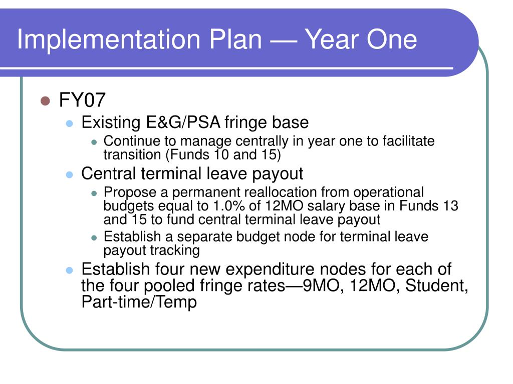 Implementation Plan — Year One