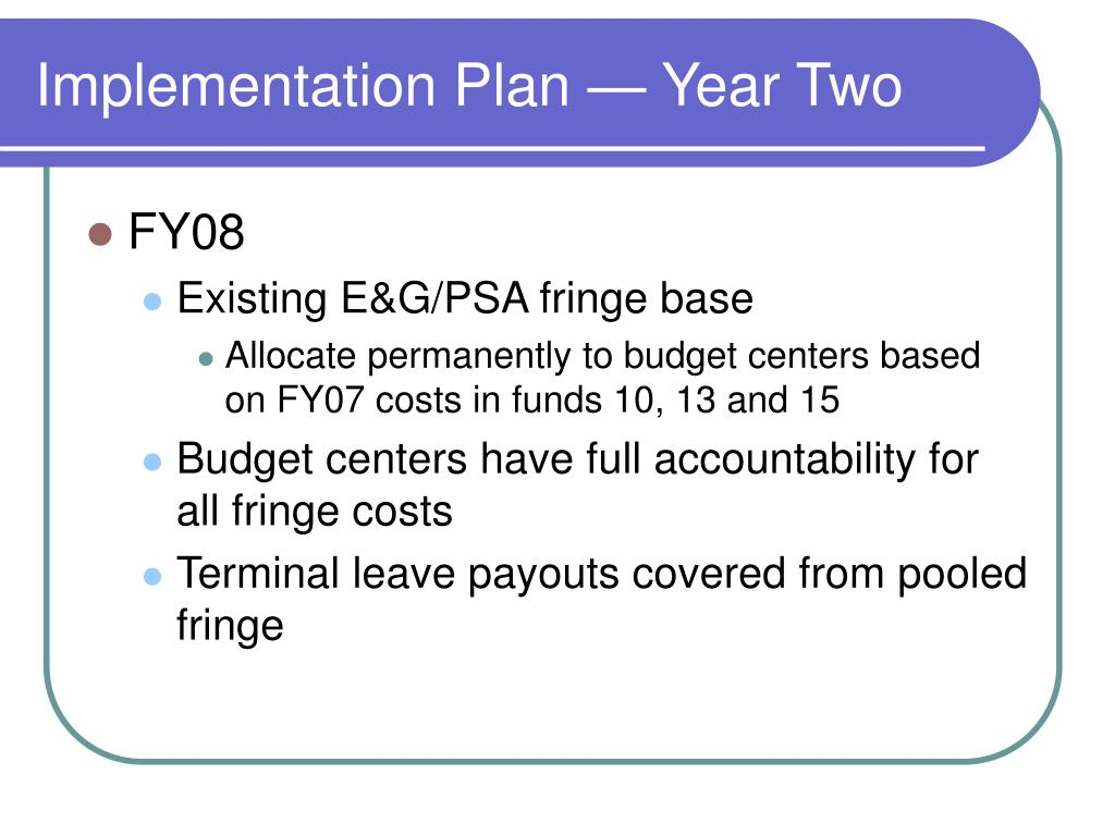 Implementation Plan — Year Two