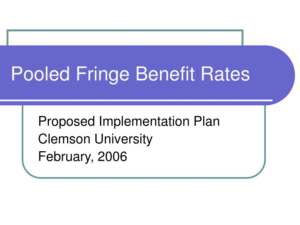 Pooled Fringe Benefit Rates