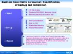 business case mairie de vaur al simplification of backup and restoration
